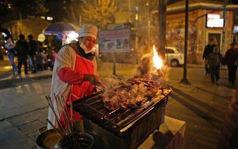 Street food in La Paz, Bolivia