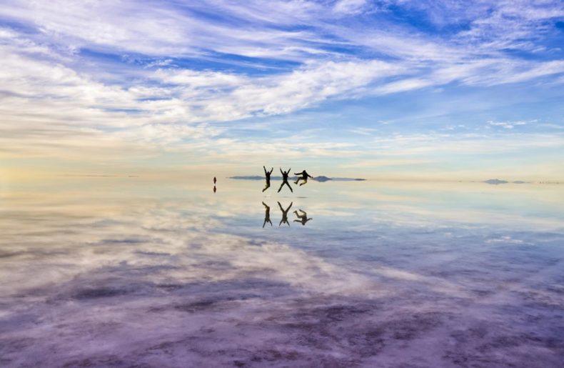 Foto no Salar de Uyuni, Bolívia