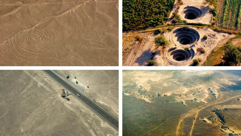 Different aerial shots of the Nazca lines