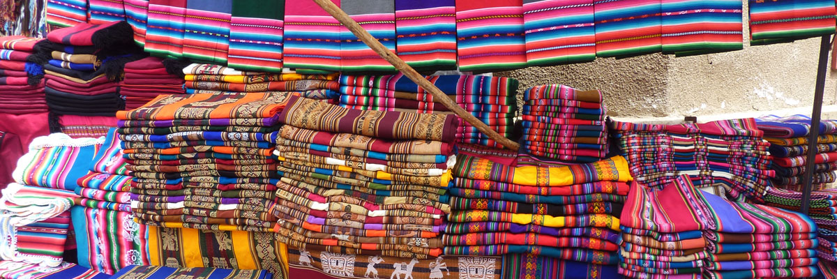 Sucre Bolivia - Gift store at the tarabuco market with traditional gifts