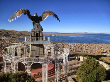 Puno to La Paz by Bus - Eagle statue above Puno