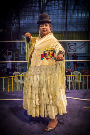 Bolivian Cholita Wrestling - Cholita wrestler posing for camera
