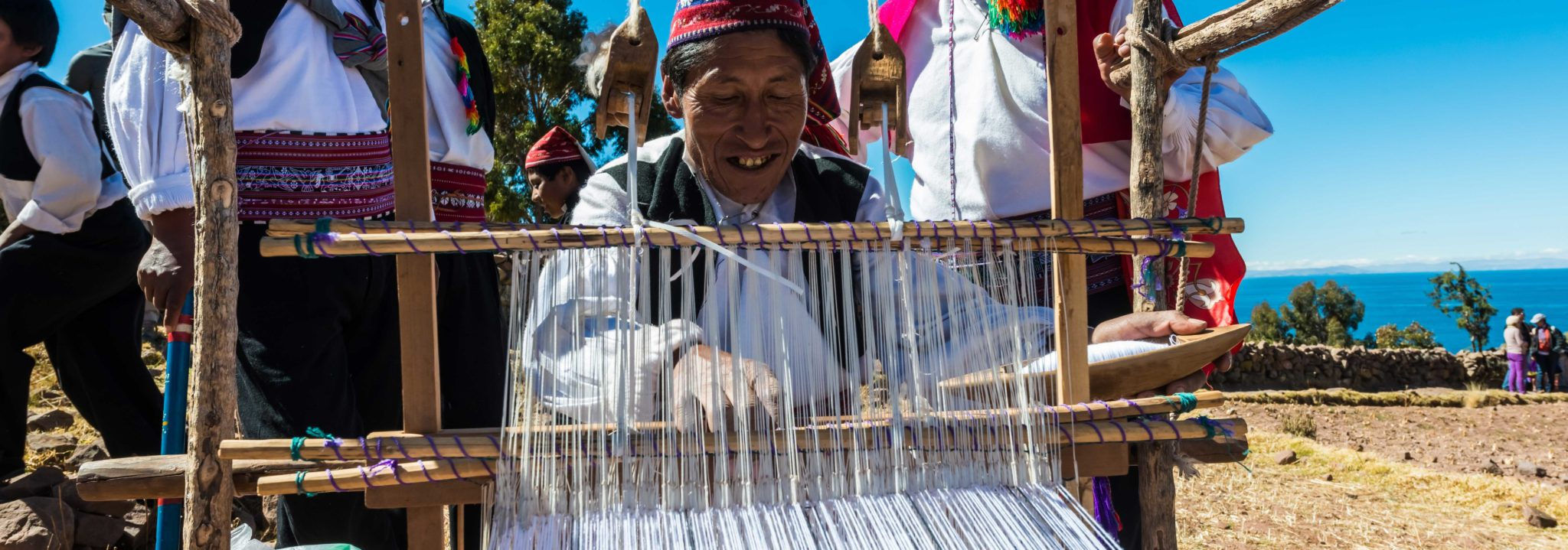 weaving on taquile island
