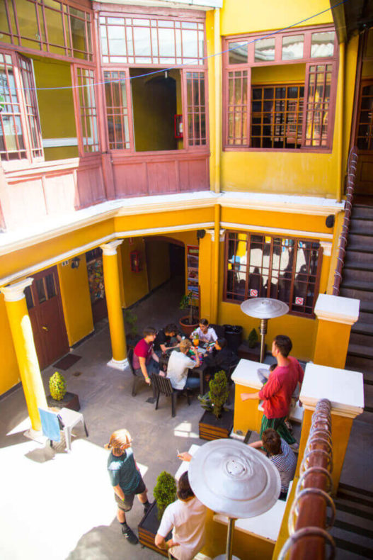 second floor view of Wild Rover's patio, one of the best hostels in la paz